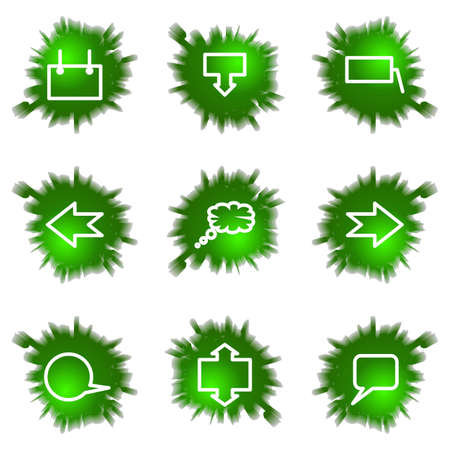 Set of 9 glossy green web icons (see other in my portfolio). Stock Vector - 16241440