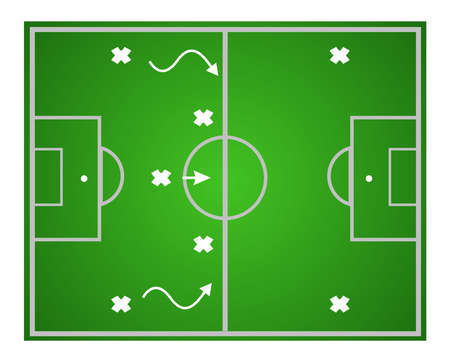 Illustration football game. Teamwork strategy. Vector