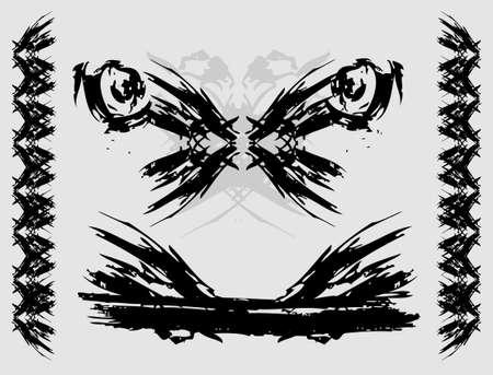 Set of grunge edges  illustration in black color Stock Vector - 16630509