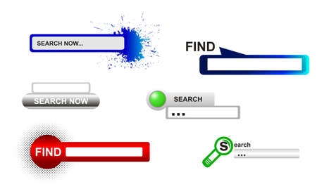 Website search boxes.  illustration in red, green and blue color.