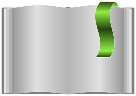 Blank open book on white background and with bookmark. Vector