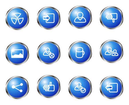 conection: Conjunto de 12 iconos web brillante (set 6). Color azul.