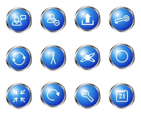 conection: Conjunto de 12 iconos web brillante conjunto (7). Color azul.
