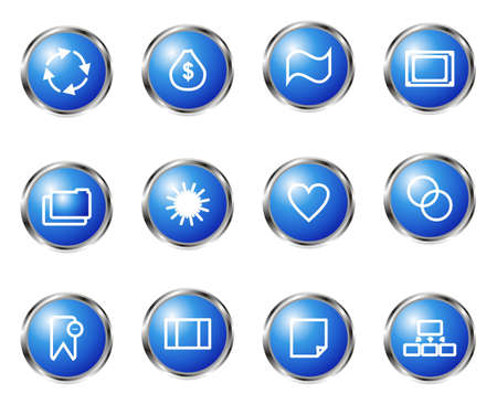 Set of 12 glossy web icons (set 9). Blue color. Vector