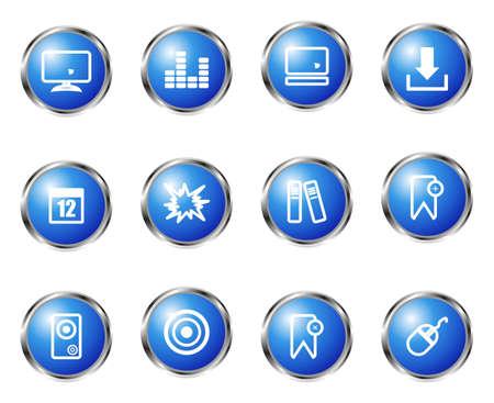Set of 12 glossy web icons (set 10). Blue color. Illustration