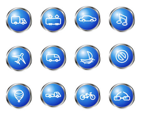 Set of 12 glossy web icons (set 11). Blue color. Vector