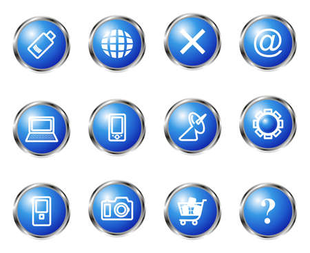 Set of 12 glossy web icons (set 13). Blue color. Vector