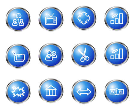 Set of 12 glossy web icons (set 14). Blue color. Vector