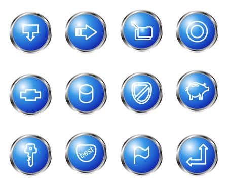 Set of 12 glossy web icons (set 15). Blue color. Illustration