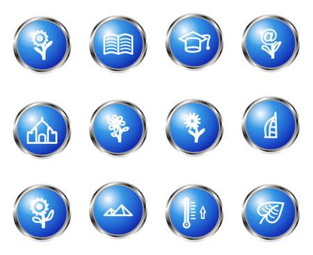 peri�dico: Conjunto de 12 �cones lustrosos do Web (set 18). Cor azul.