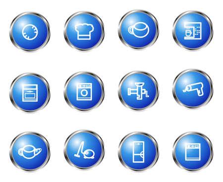 Satz von 12 glossy Web Icons (Set 20). Blaue Farbe. Standard-Bild - 16645123