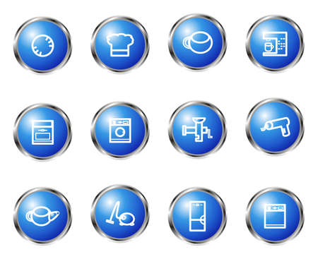 Set of 12 glossy web icons (set 20). Blue color. Vector
