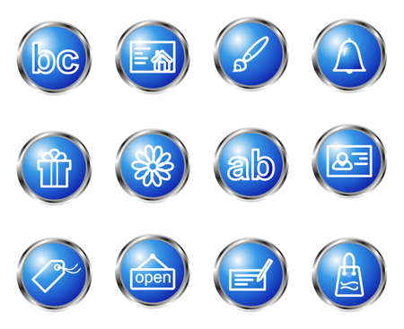 icq: Set of 12 glossy web icons (set 4). Blue color.