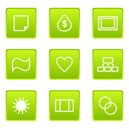 Set of 9 glossy web icons (set 11) Vector