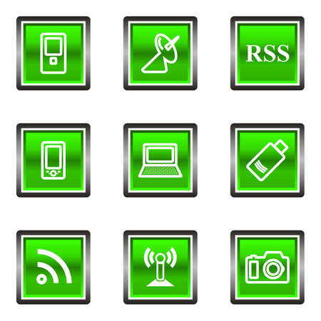 Set of 9 glossy square web icons (set 1). Green color. Illustration