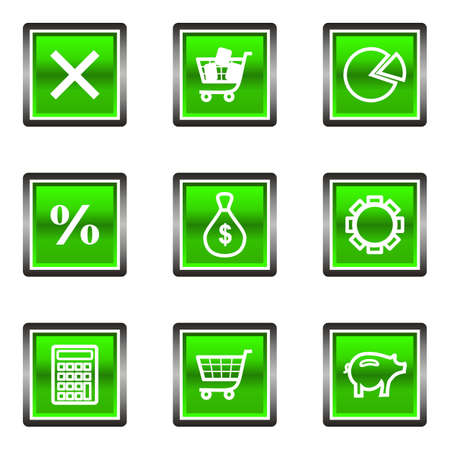 Set of 9 glossy square web icons (set 3). Green color.