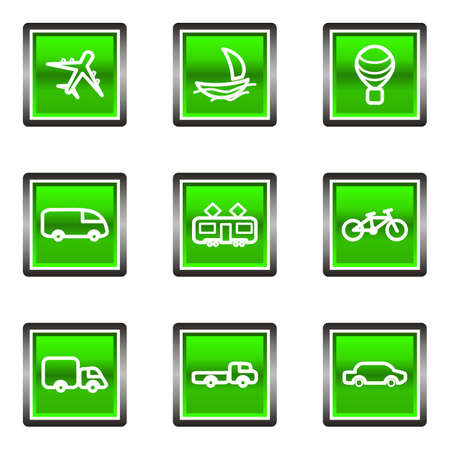 Set of 9 glossy square web icons (set 5). Green color.