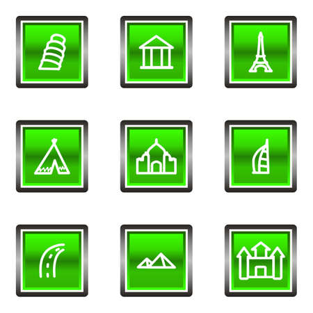 Set of 9 glossy square web icons (set 11). Green color.