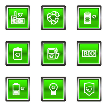 16 9: Set of 9 glossy square web icons (set 16). Green color.
