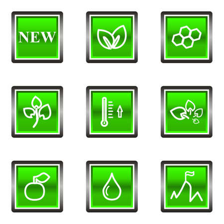 Set of 9 glossy square web icons (set 19). Green color. Illustration