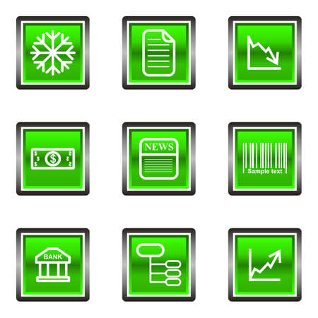 Set of 9 glossy square web icons (set 29). Green color.