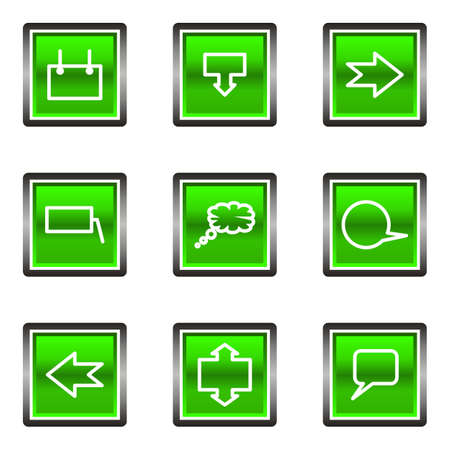 Set of 9 glossy square web icons (set 34). Green color. Stock Vector - 16630912