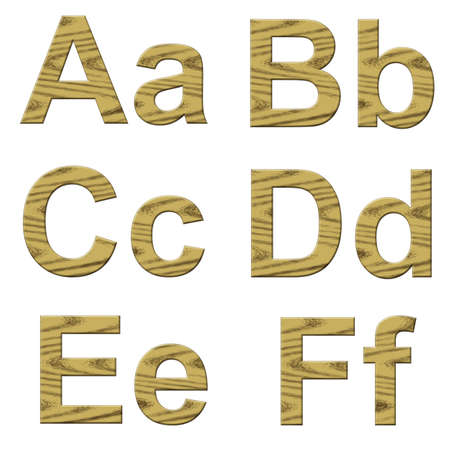 alphanumeric: Illustration of wooden letters on white background.