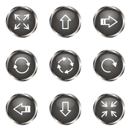 Set of 9 glossy web icons (set 2). Black color. Stock Vector - 16682264