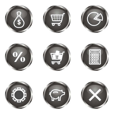 Set of 9 glossy web icons (set 3). Black color. Illustration