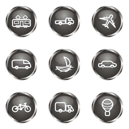 Set of 9 glossy web icons (set 5). Black color. Vector