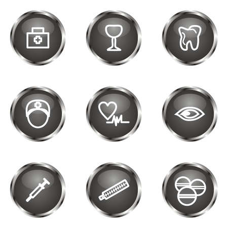 Set of 9 glossy web icons (set 6). Black color.
