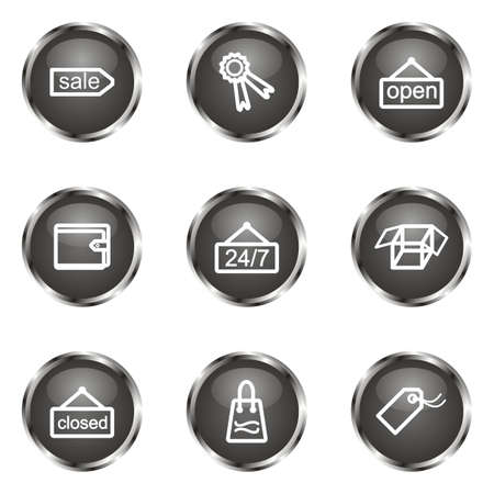 Set of 9 glossy web icons (set 9). Black color. Stock Vector - 16682317