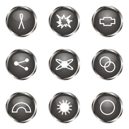 Set of 9 glossy web icons (set 10). Black color. Vector