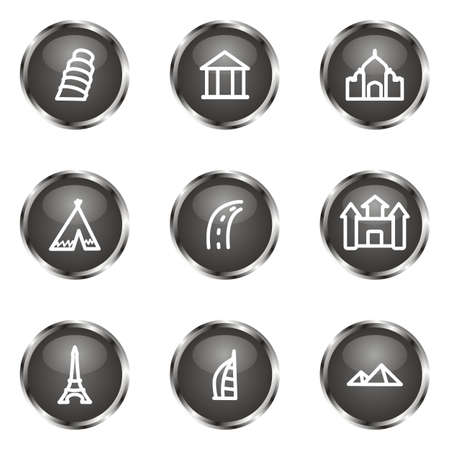 Set of 9 glossy web icons (set 11). Black color. Vector