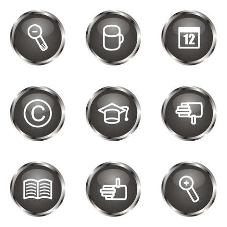 Set of 9 glossy web icons (set 20). Black color. Stock Vector - 16682299