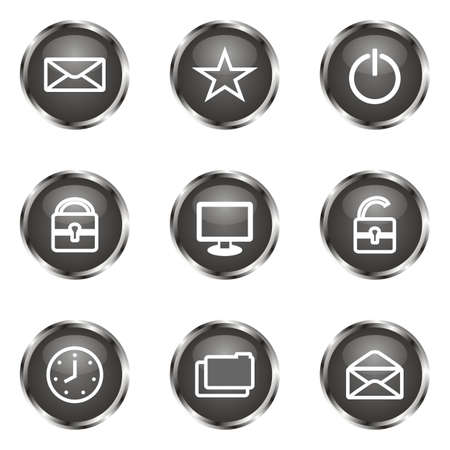 Set of 9 glossy web icons (set 21). Black color. Stock Vector - 16682277