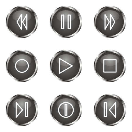 Set of 9 glossy web icons (set 23). Black color. Stock Vector - 16682261
