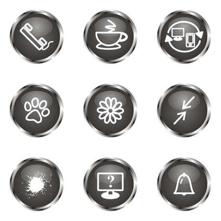 icq: Set of 9 glossy web icons (set 26). Black color.