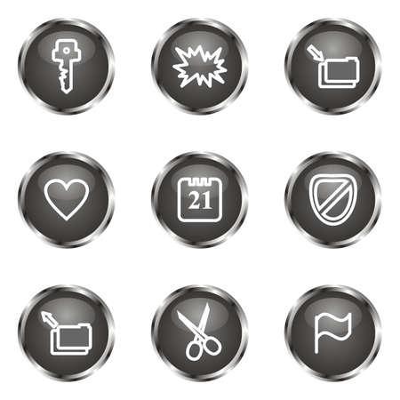 Set of 9 glossy web icons (set 27). Black color. Vector