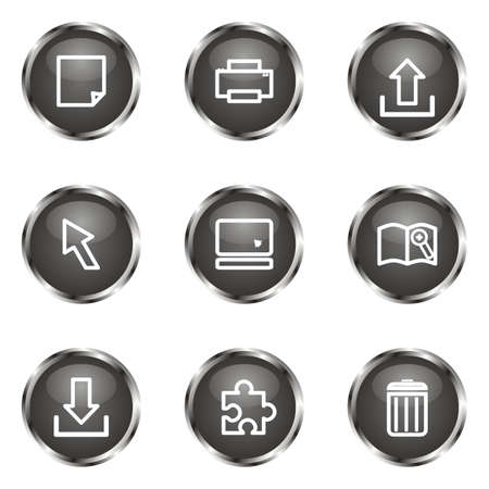 Set of 9 glossy web icons (set 28). Black color. Vector