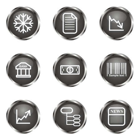 comerce: Set of 9 glossy web icons (set 29). Black color.