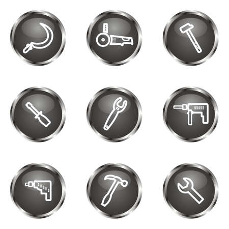 Set of 9 glossy web icons (set 31). Black color. Vector