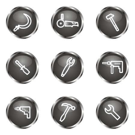 Set of 9 glossy web icons (set 31). Black color. Illustration