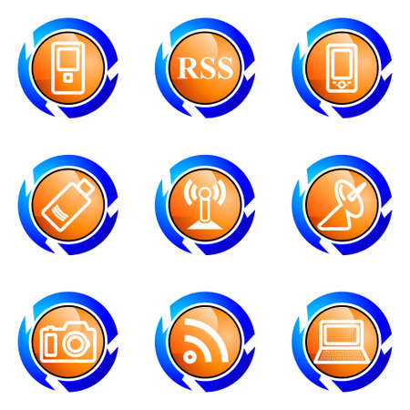 Set of 9 glossy web icons (set 1). Isolated button in various color. Vector