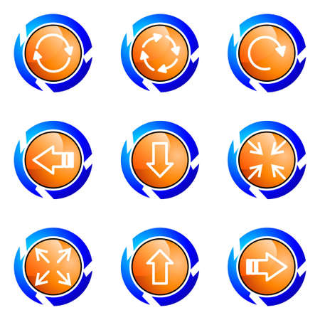 Set of 9 glossy web icons (set 2). Isolated button in various color. Stock Vector - 16681937