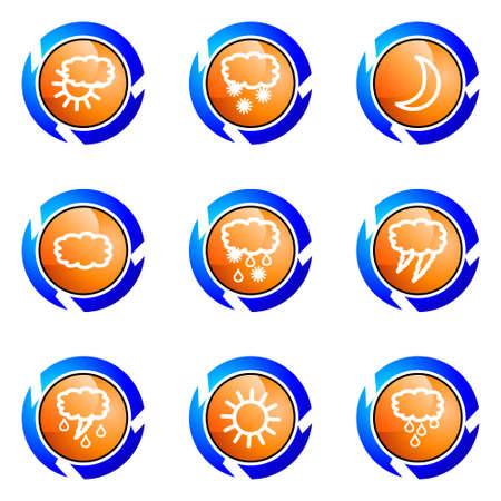 Set of 9 glossy web icons (set 4). Isolated button in various color. Stock Vector - 16682362