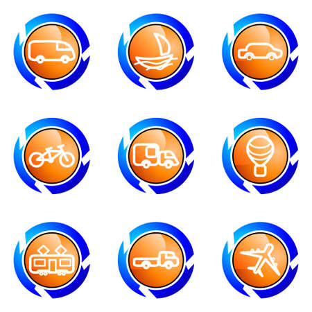 Set of 9 glossy web icons (set 5). Isolated button in various color. Vector