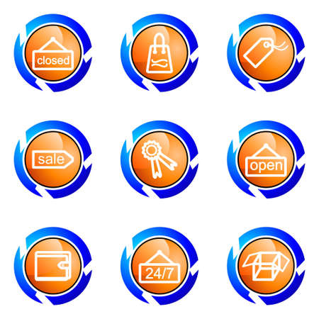 Set of 9 glossy web icons (set 9). Isolated button in various color. Stock Vector - 16682357