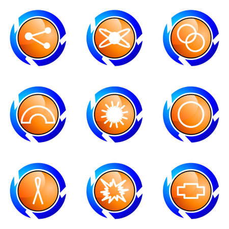 Set of 9 glossy web icons (set 10). Isolated button in various color. Vector