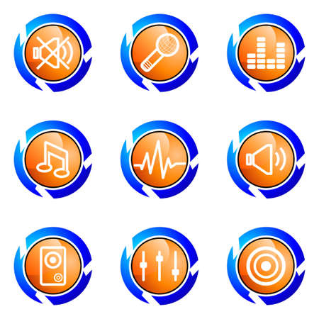 Set of 9 glossy web icons (set 15). Isolated button in various color. Vector
